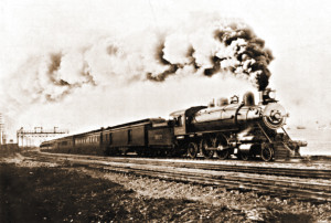 The Union Pacific  Overland Limited passenger train is pictured here leaving 16th Street Station in Oakland, CA, circa 1906.